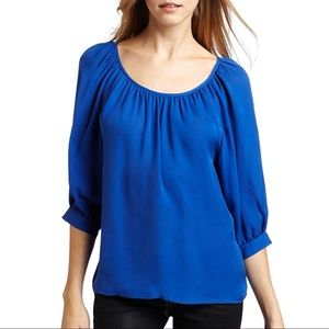 Joie Astara Blouse Yves Blue Silk Top XS Shopbop